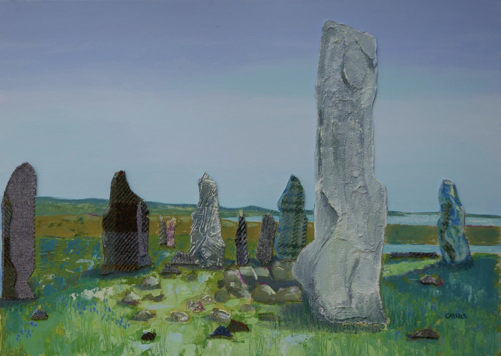 - A PLEASANT SURPRISEA lady contacted me having fleetingly viewed my work at the Hebcelt Festival. Having children in tow meant she didn't have time to browse, so a private viewing was arranged. We then both had time to chat over what she liked best and why, and she chose a Callanish Stones painting complete with Harris tweed to remind her of home.A win win afternoon!