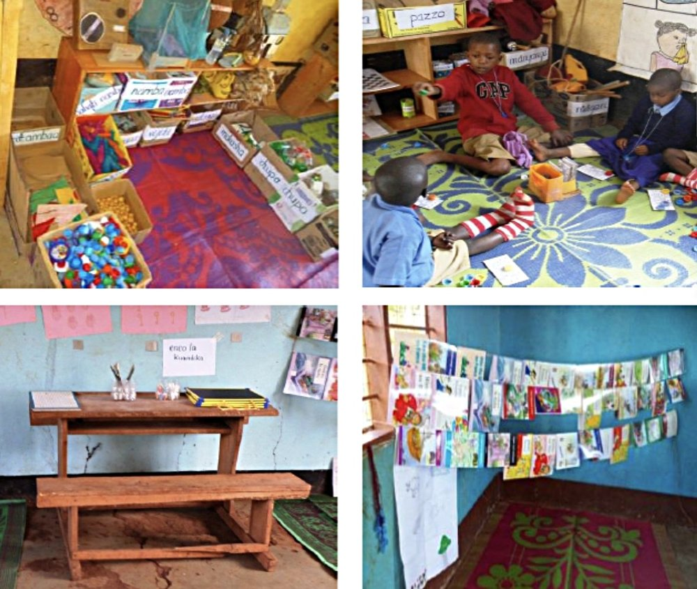 Classroom learning materials, including bookshelves, mats, collections of local materials, board games, and story books