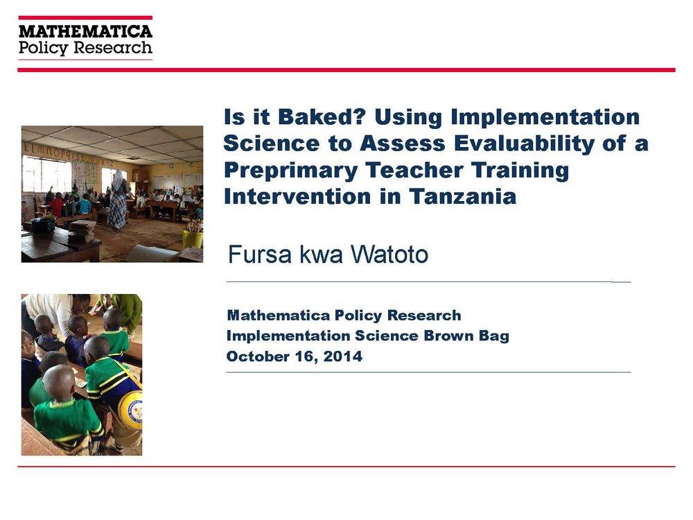 Evaluability Assessment Presentation