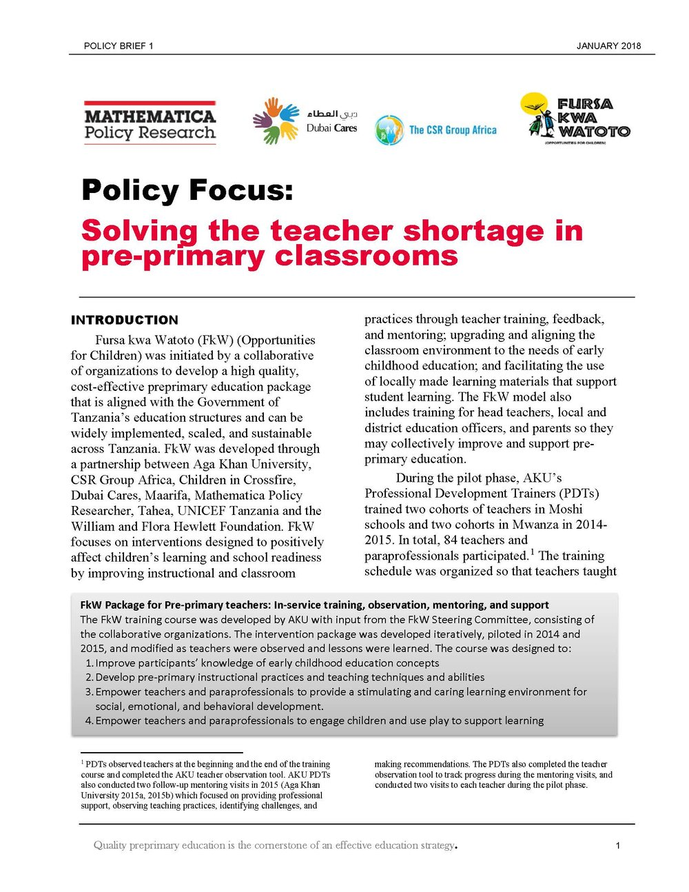 FkW Paraprofessional Teacher Brief