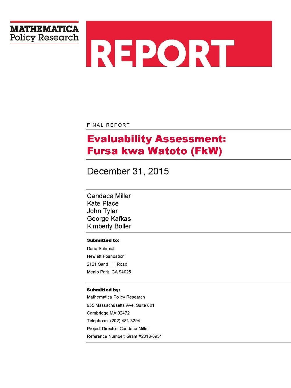 Evaluability Assessment Report - Combined