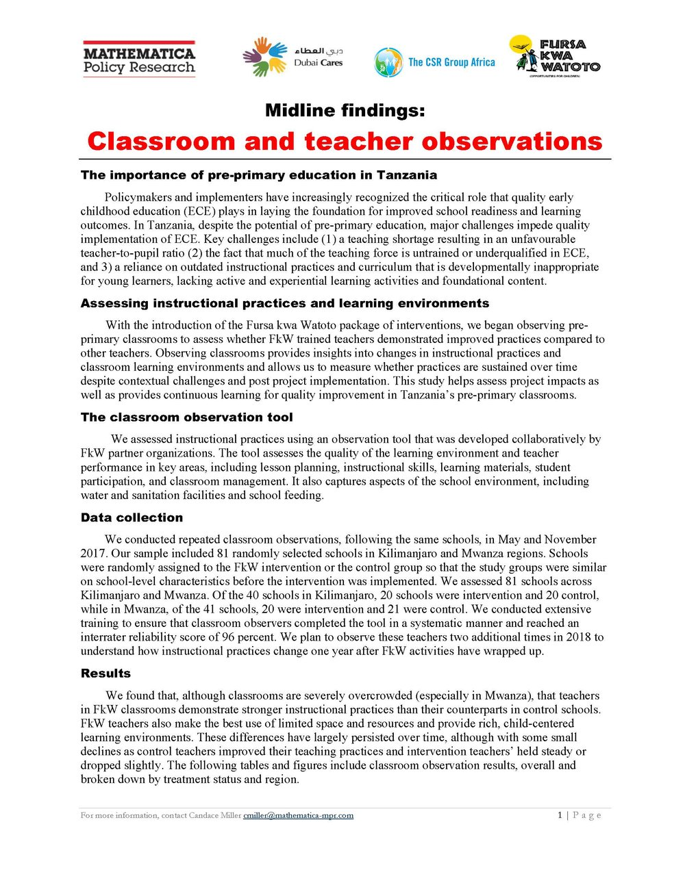 Classroom Observation Results Tables: Learning Agenda