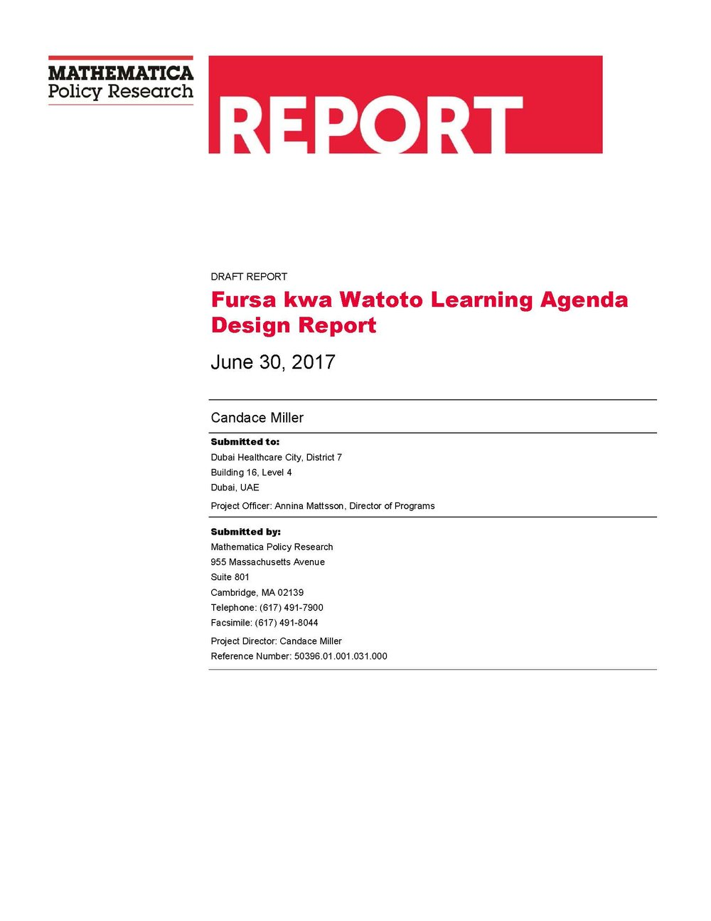 Learning Agenda Design Report