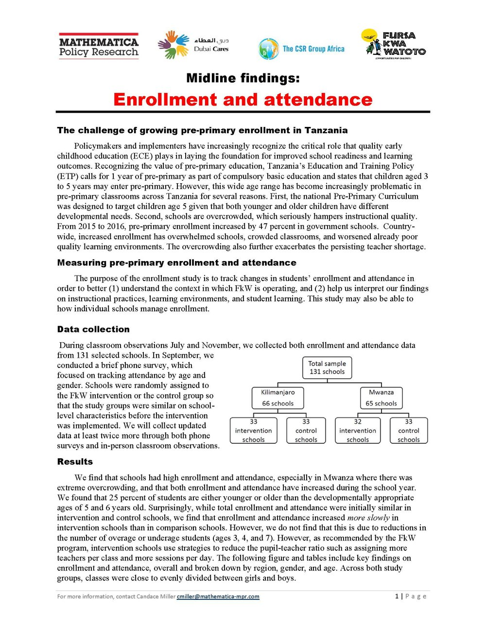 Enrollment Results Table