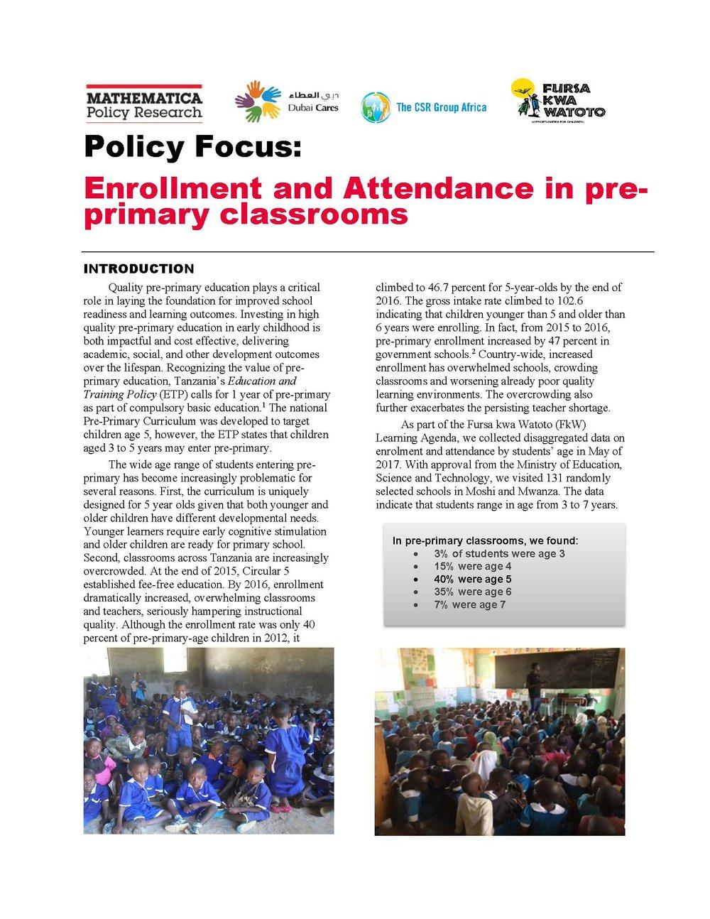 FkW Enrollment and Attendance Brief - Jan 2018