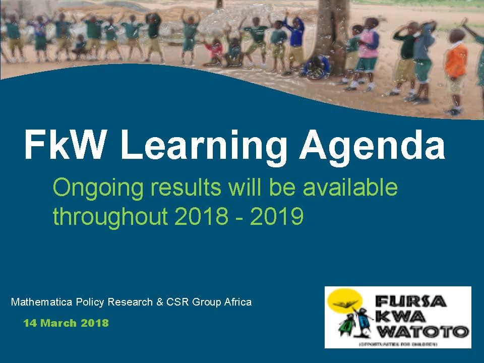 Learning Agenda Ongoing Results: ws CiC Closing Event