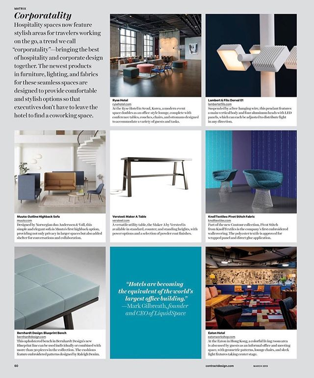 @Versteel creates innovative products to fit the needs and expectations of end users across all types of commercial environments. The company was recently featured in the March issue of @ContractMag, in which the publication highlighted its Maker A Table as a go-to product for design hospitality for the working traveler. #JCclientlove