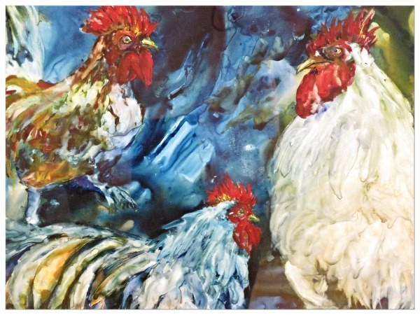 """Barnyard Stomp"", a watercolor on yupo prepared by Brenda Lawson, was also an award winner."