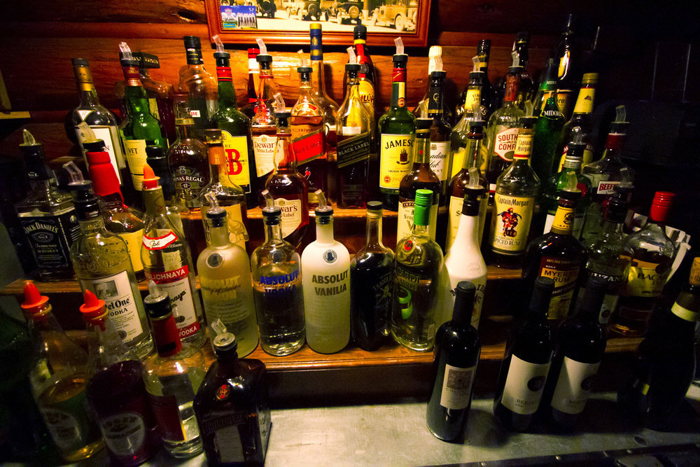bar libations on display during a twin owls steakhouse wedding in estes park, colorado