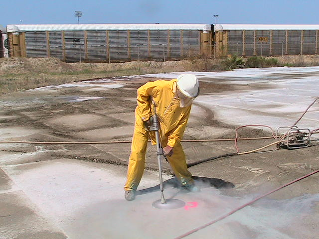 Removal of Surface Coating Prior to Steel Hydrocutting