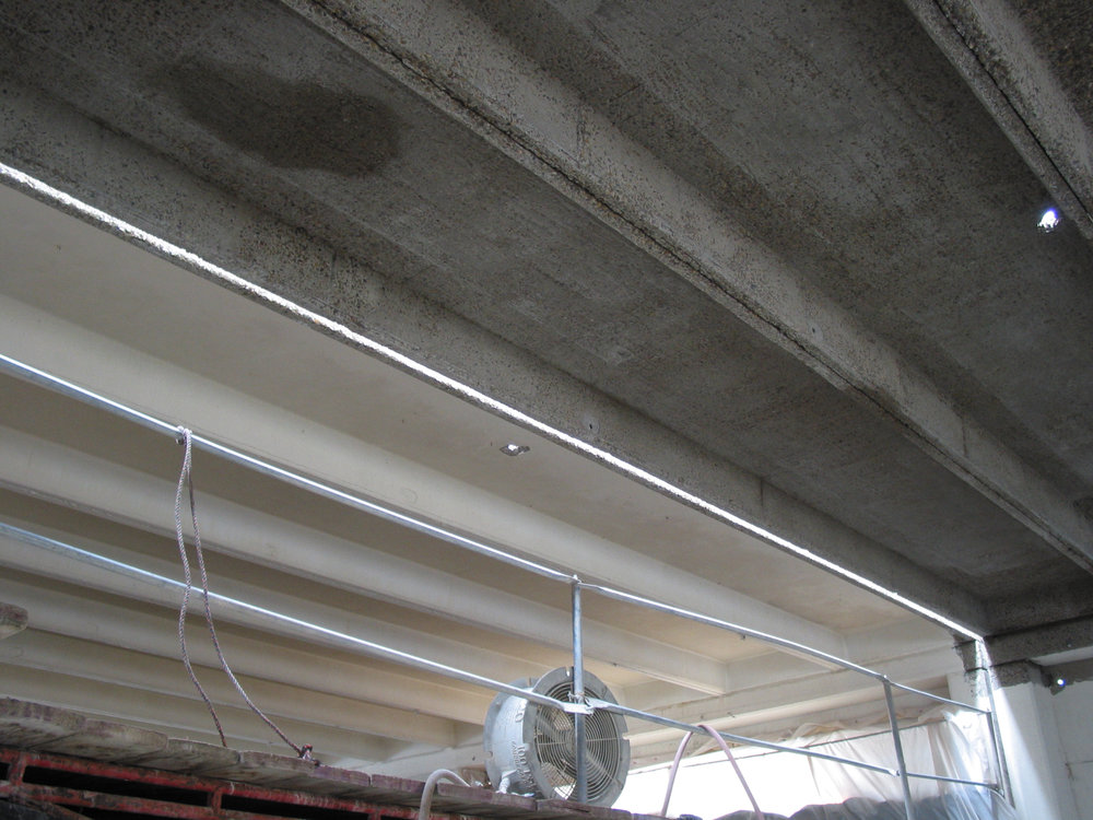 Portion of ceiling hydroblasted