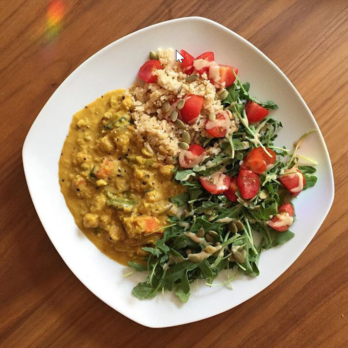 Food Bebo's daal with veggies, quinoa & brown rice, arugula, grape tomatoes, pumpkin seeds, tahini, lemon, pepper