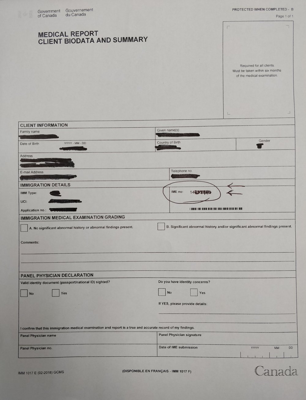 "The ""Medical Report: Client biodata and Summary Form"" looks like this. If you have received it, you need to bring it."