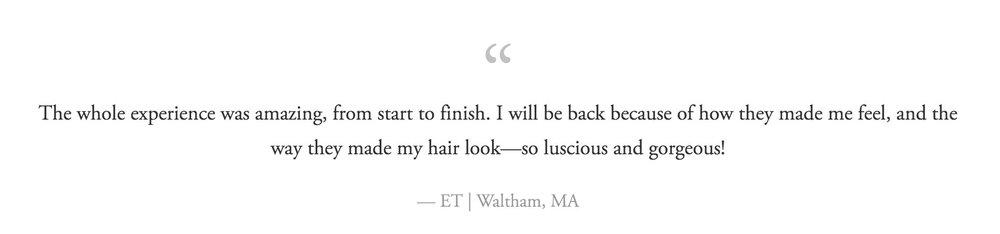 ET of Waltham reviews Maynard Hair Salon Hair in Harmony