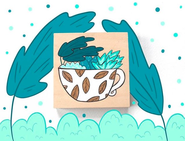 Tanya Dean   :  Illustrations fantaisistes en aquarelle et gouache sur épingles et autres objets. /  Whimsical watercolor and gouache illustrations on pins, bags, other items.   Cafe 92 (6703 Sherbrooke Ouest