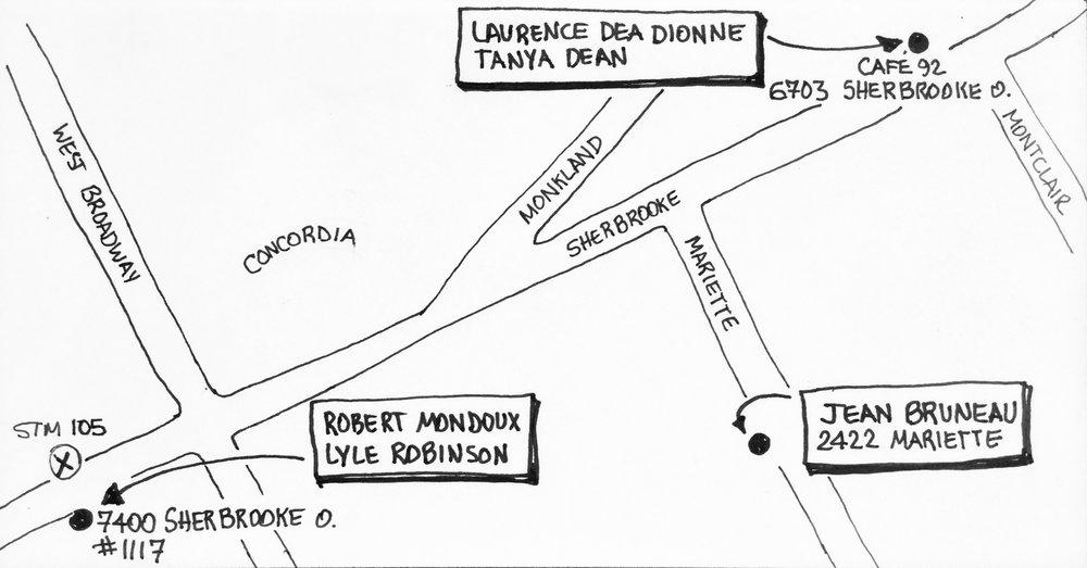LOYOLA: 5 artistes/ artists -3 arrêts/ stops   Robert Mondoux, Lyle Robinson, Jean Bruneau, Laurence Dea Dionne, Tanya Dean