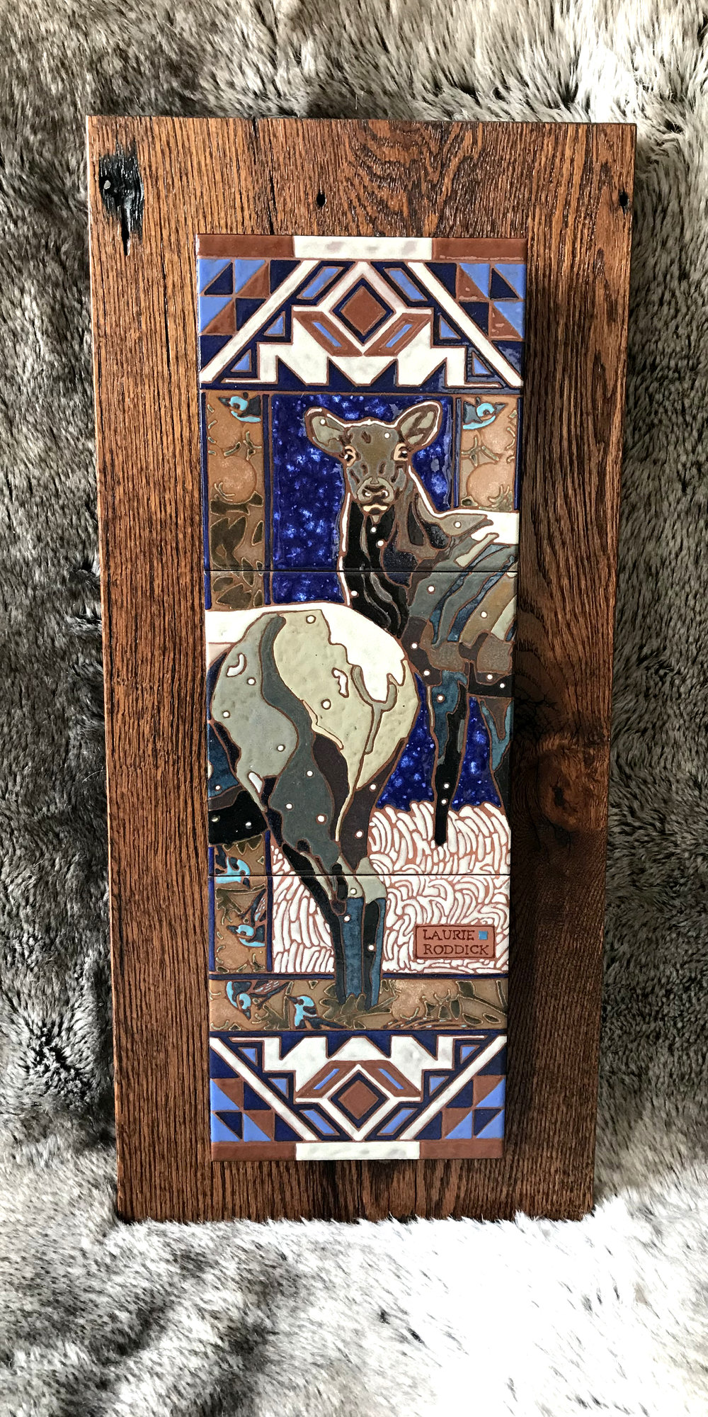"Native Species , Ceramic over reclaimed oak  Size: 10"" W x 22"" H  Price $900"