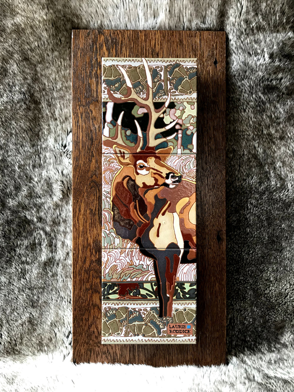 "Winter Bull , Ceramic over reclaimed oak  Size: 10"" W x 22"" H  SOLD"