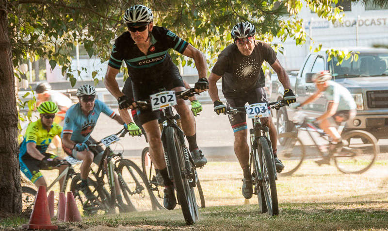 Cat 2 Men 50+ racers, winding their way under the trees at last week's STXC # 6 - photo by    Jack Gosnell