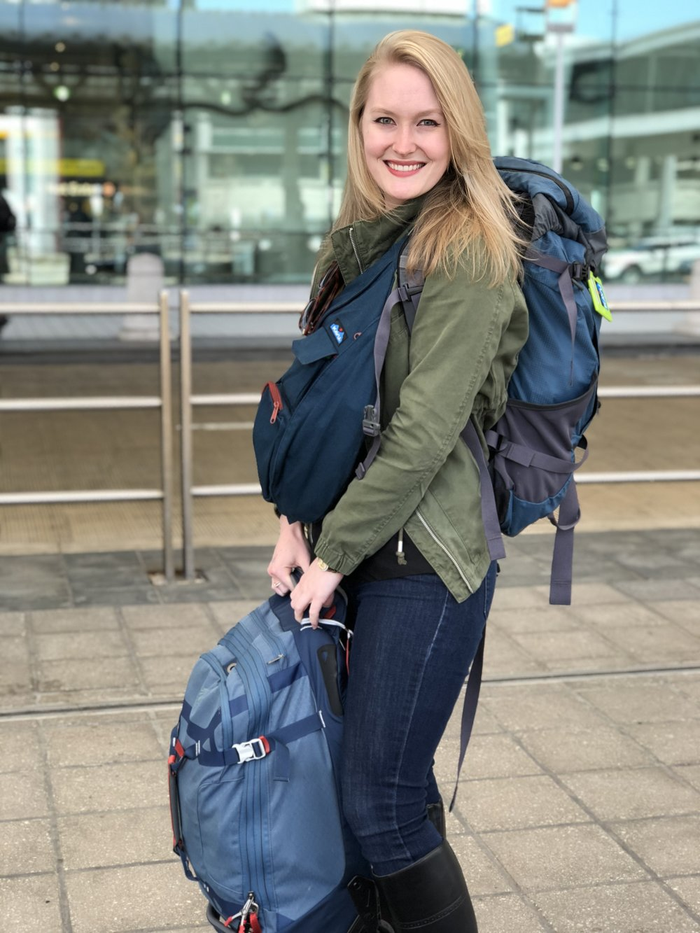 Modern-day solo travel: Me with my favorite bags for long trips!
