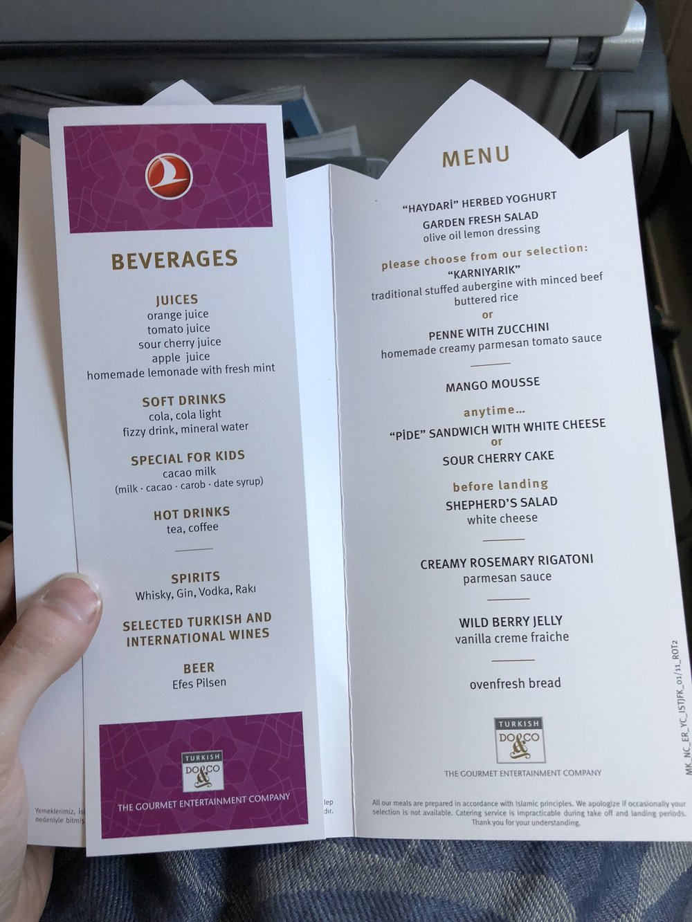The standard menu doesn't list the gluten-free options, but I enjoyed reading about the offerings for everyone else. Still very impressive airplane fare!