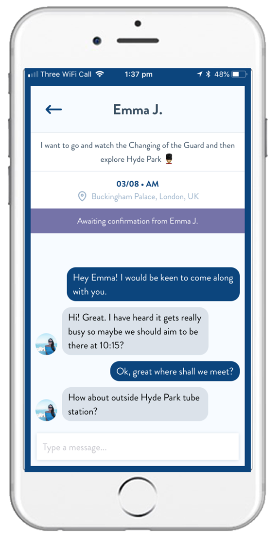 STAR and CHAT - Star cards to save them as you swipe.Get to know people who suggest ideas you like, and plan your adventure in the city together