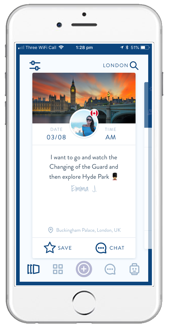 Swipe and Filter - Discover a city with other travellers in the same location.Filter between people who want to meet up, split the cost of activities or sell items they no longer need