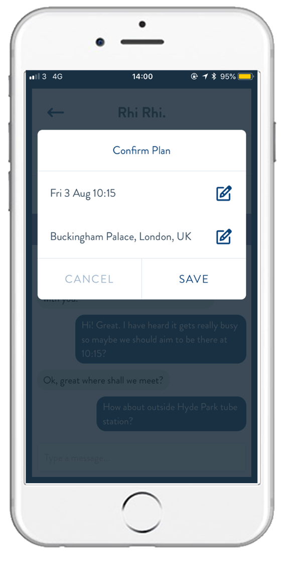 Plan on the go - Keep track of who you aremeeting as you travel.Chat at any time to edit or change details, in case something changes last minute