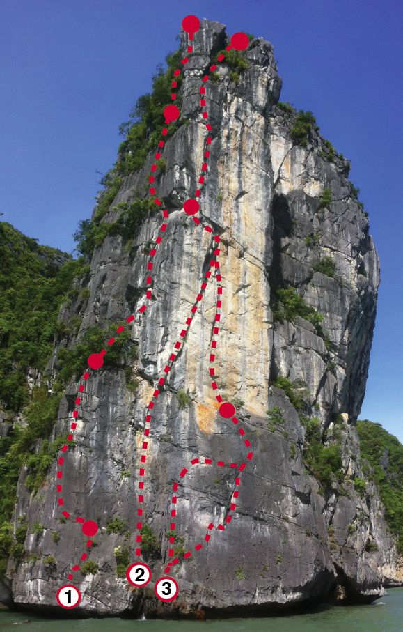 Big Ben. The route Luca is talking about is number 3. Illustration from Vietnam Climbing