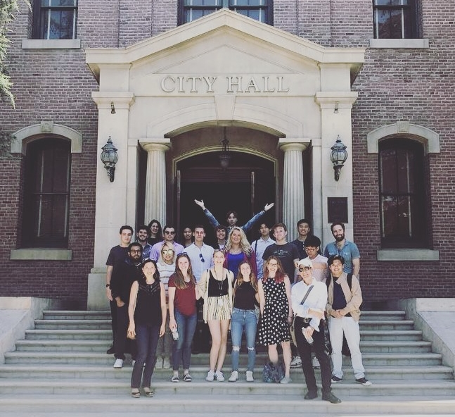 The USC / Universal Studios 2018 Production & Direction class, in front of the court house from  Back to the Future , on the Universal NY Backlot.