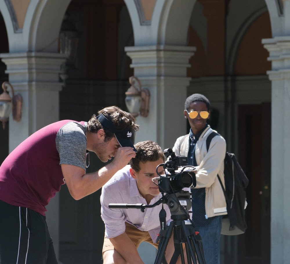 Me (middle), directing a short film on the Universal NY Backlot.