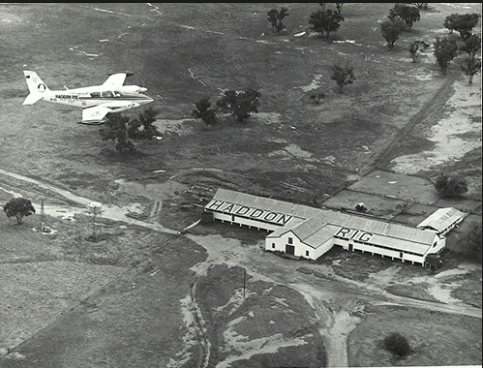 Flying over the Haddon Rig woolshed, Warren, circa 1988