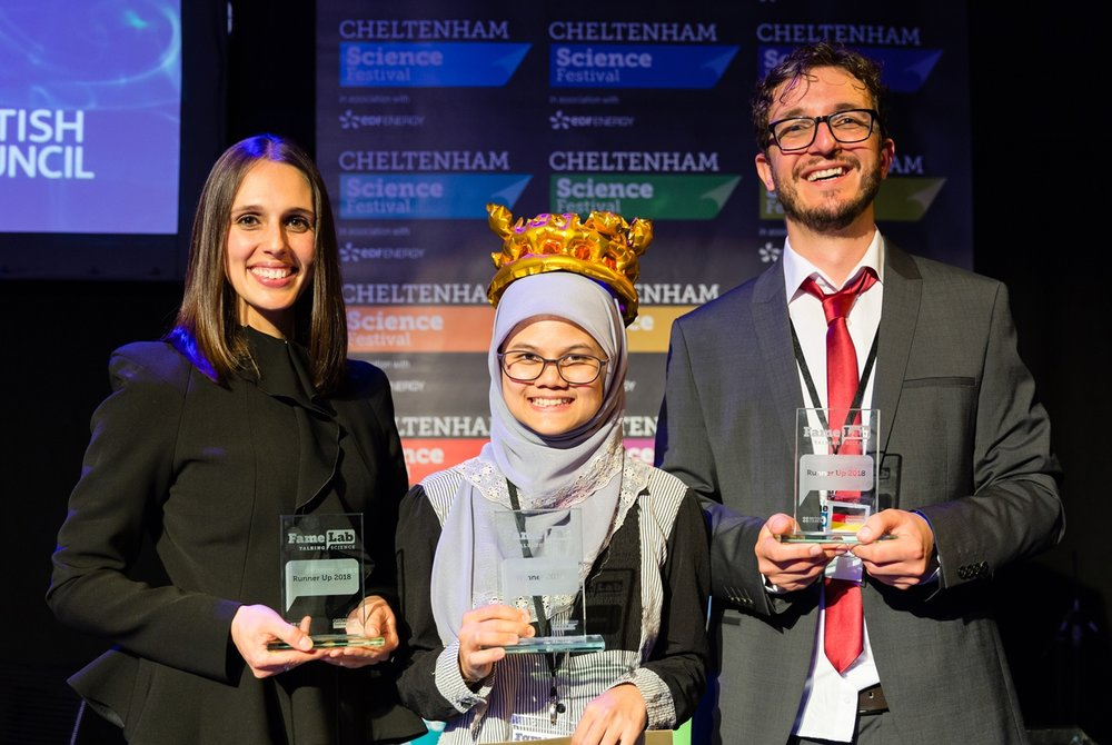 International runner up at FameLab, Cheltenham, United Kingdom.