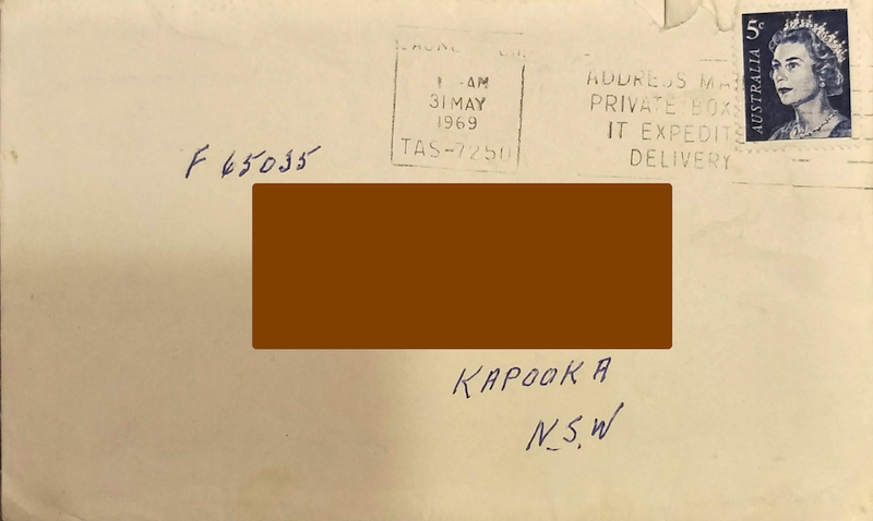 Example 3: front of envelope dated 1969