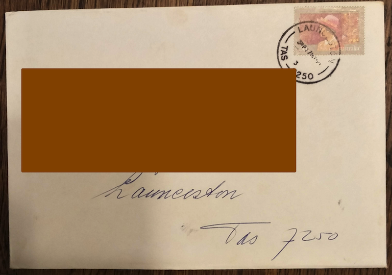 Example 4: front of envelope dated 1990