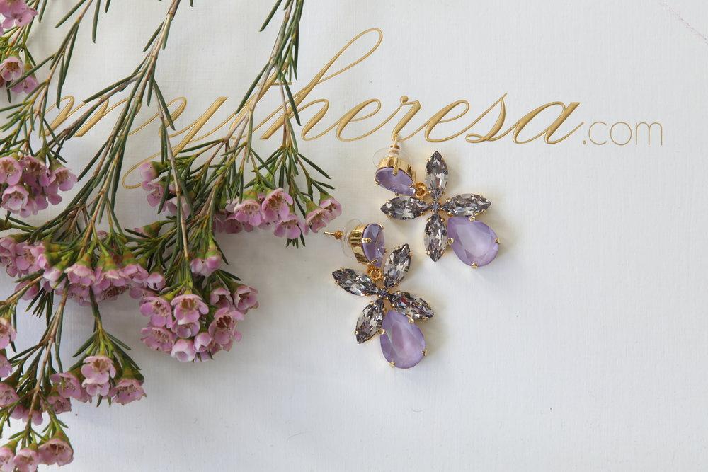 Dione Earrings i Lilac & Smokey Mauve