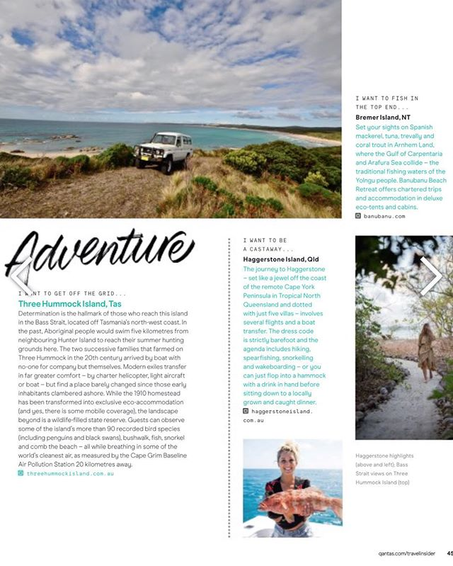 Check us out in @qantas_link Magazine! The Island Adventure category, just where we belong!👌😃 We love what they wrote about  #threehummockisland !! Thanks #qantas ! . . .  #qantaslink #qantasmagazine #tasmania #islandsofaustralia #islandsofadventure #adventureisland #cradlecoast #hobartandbeyond #tasmaniagram #discovertasmania #magazinefeature