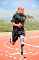 Below-knee amputee runs for berth in 2012Paralympics - by Tim Hipps public domain no rights reserved.Sgt. Jerrod Fields, a U.S. Army World Class Athlete Program Paralympic sprinter hopeful, works out at the U.S. Olympic Training Center in Chula Vista, Calif. A below-the-knee amputee, Fields won a gold medal in the 100 meters with a time of 12.15 seconds at the Endeavor Games in Edmond, Okla., on June 13, 2009.Cropped, remixed by Deborah Hartmann Preuss.