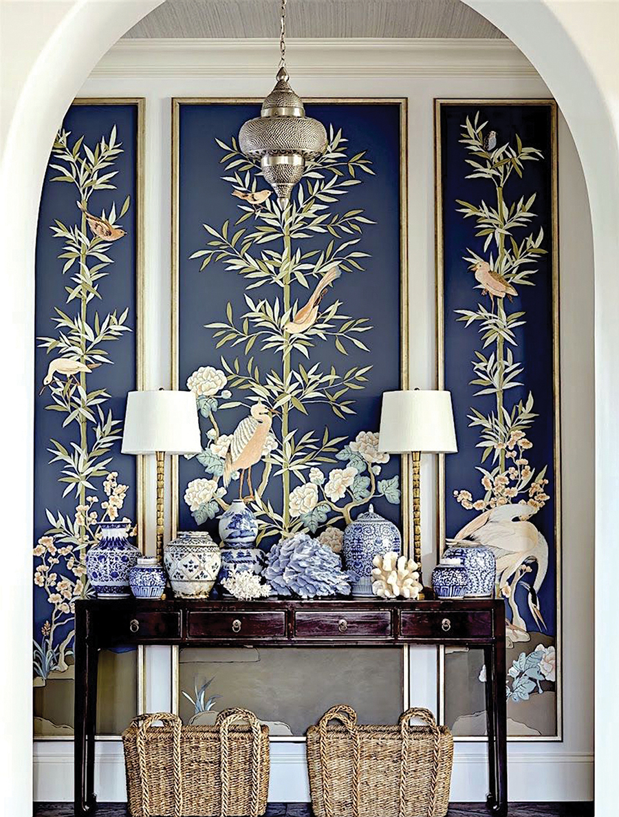 The femininity and beauty of chinoiserie is back! If you aren't ready to commit to a whole wall of wallpaper, use decorative moldings to create frames to display the wallpaper like art.