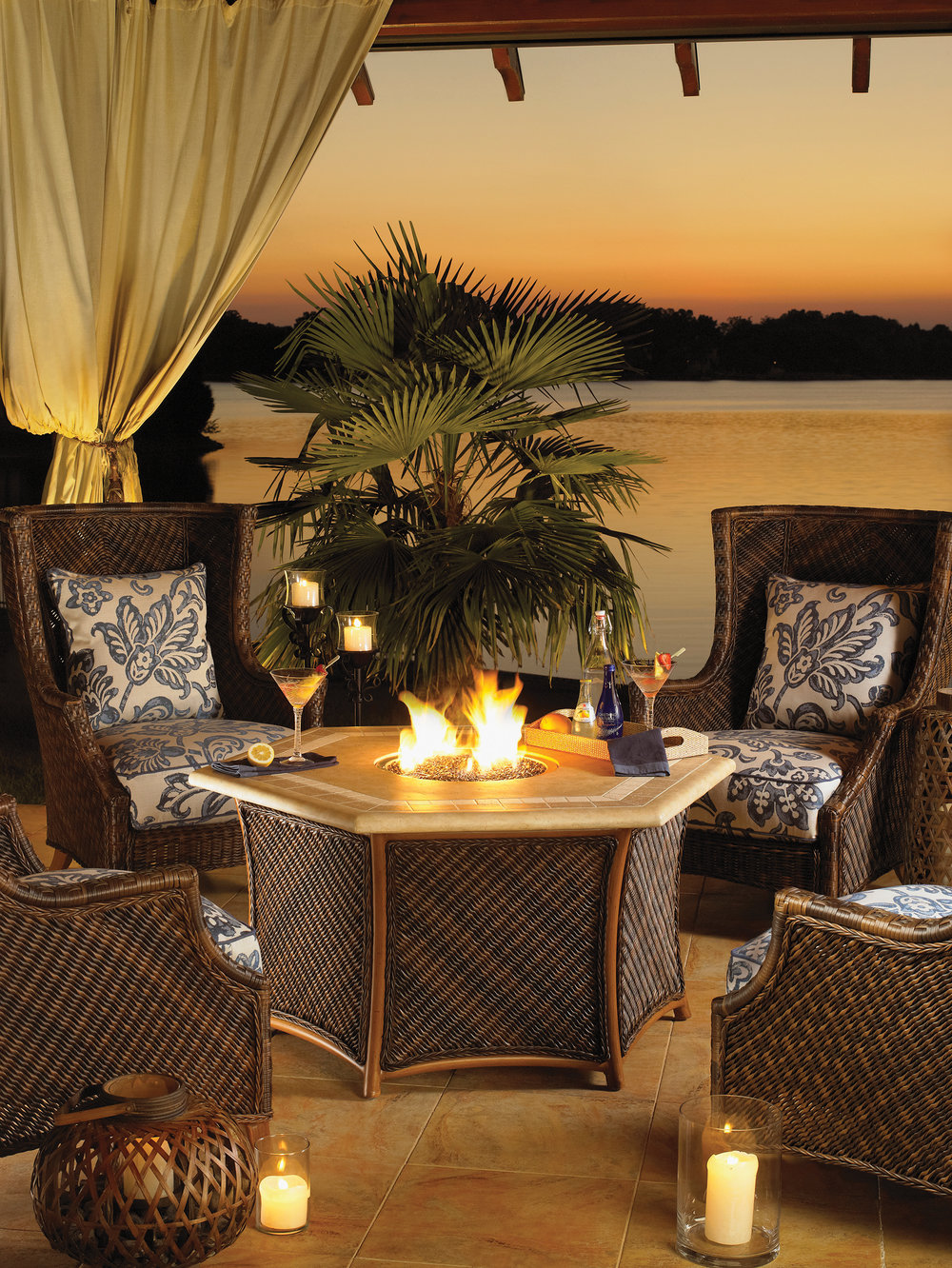 reate a cozy living space on your lanai by incorporating a fire table. In addition to adding ambiance, they can be a focal point in your seating area. If your ceilings are at least ten-feet tall, you can put the fire table under covered spaces.