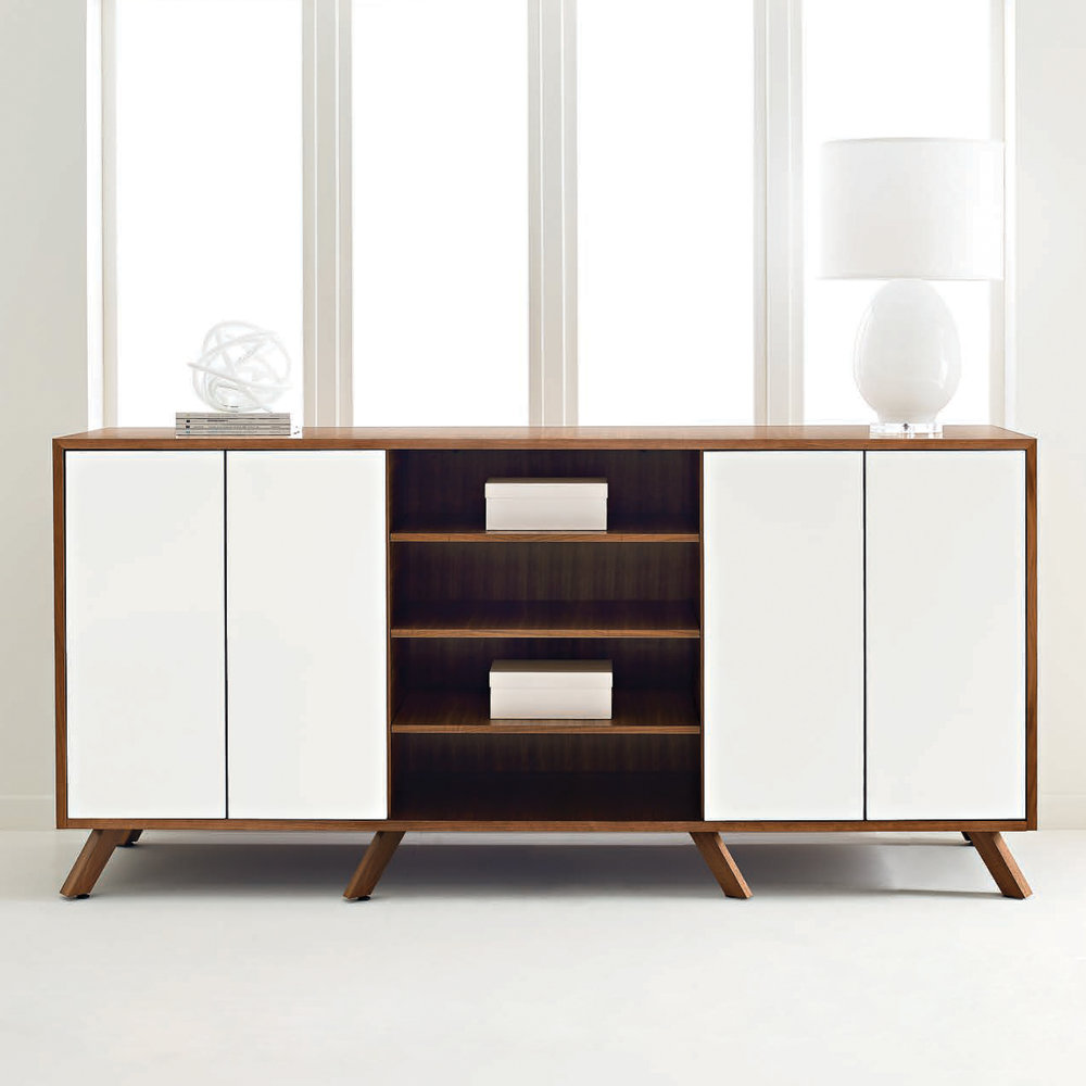 This credenza by Darran is a great example of stylish storage for a home office. With both open and closed shelving, this piece gives you versatile storage options while adding a designer touch to your home office.