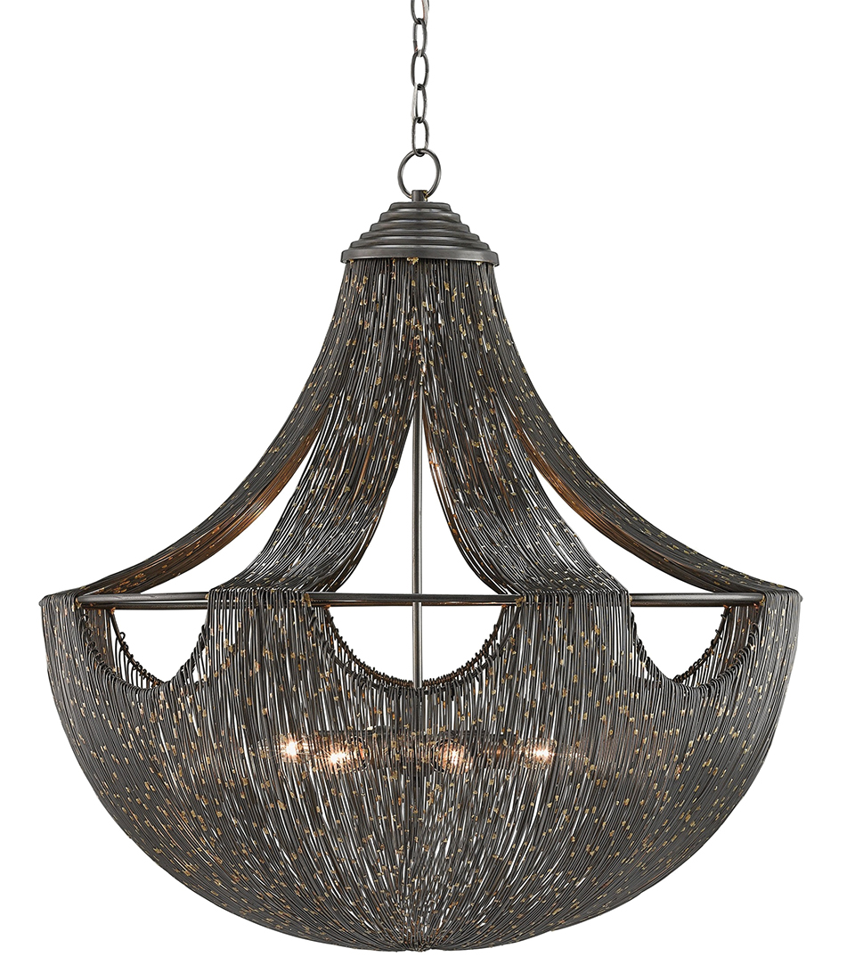 This Moroccan-inspired fixture with iron and brass welded wires with gold flakes is a great way to add international flair to a room.
