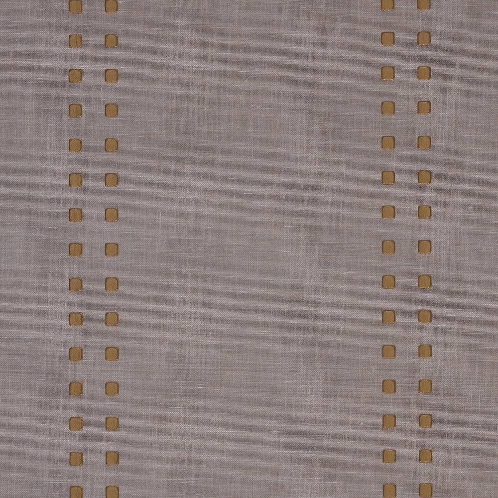Wallpaper is a great way to add a global vibe to a room. This granite linen textured paper with brass vertical studs is a versatile option that also works with many different design styles.