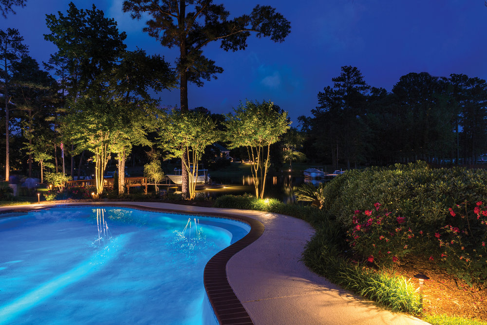 Warm LED lights illuminate the path around this pool for safety and provide dramatic uplighting for the poolside landscaping.