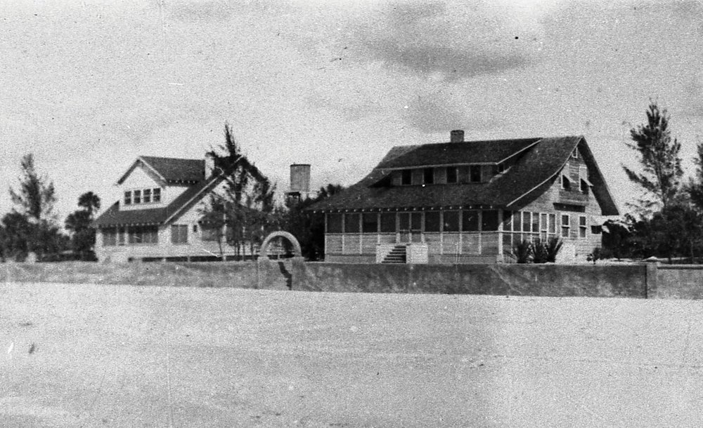 The Alexander's house (left) and the Miller's house (right) as seen from the Gulf of Mexico, c. 1925