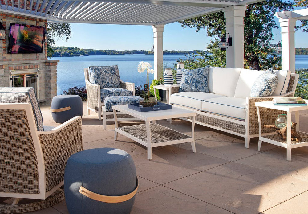 You can enjoy Florida's winter weather by hosting your party outdoors. Even if the air turns a little chilly, you can warm up the space with a decorative propane patio heater or seat your guests around a fire table.
