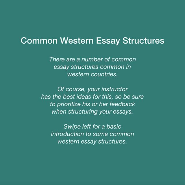 Here are some common essay structures in Western cultures, from the excellent textbook Writing Analytically. #eslbuzz #englishasasecondlanguage #esl #internationalstudents #essaywriting #essay #essayhelp #essaytips