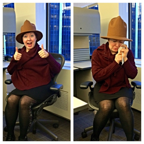Me on my last day of work at one of my digital publishing jobs (wearing a ridiculous Arby's hat).
