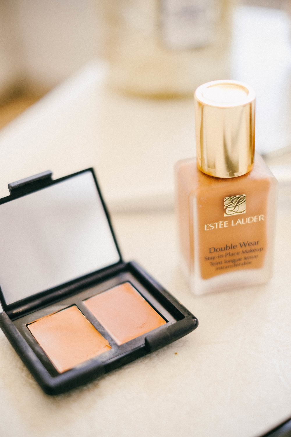 For my face, I'm an avid fan of Estee Lauder Double-Wear foundation. I've tried many of the latest trends in face makeup...BB cream, CC cream, Cream to Powder...you name it. I'm a fan of Tarte and Laura Mercier foundations as well. But out of those, I chose Estee Lauder as my favorite. It's simply the best. For me, it goes on lightweight and has great, matte coverage and it lasts all day. I don't feel like I'm wearing too much foundation. It's not super light but not super heavy or cakey either. Sometimes I will wear concealer and I love using the Nars concealer duo underneath my eyes or to cover blemishes. It goes on really smooth and covers everything perfectly and evenly. I also will use the Nars stick but I like the duo as it gives me two choices...a lighter shade and a darker shade.