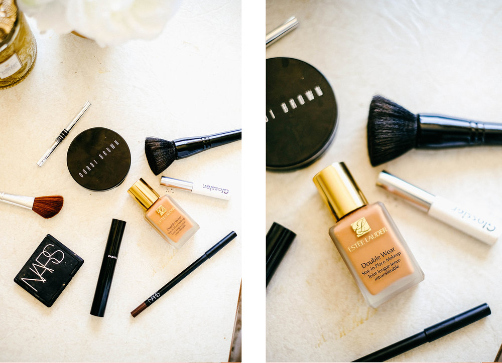 """So there you have it! Very simple, quick and easy makeup. It all fits in my small makeup bag and even in my purse. I don't use that much. I prefer natural looking makeup anyway. I hope this gives you some good ideas or maybe some new products to use. I've linked everything below so you can shop these products. Till next time! *kisses* - Cristal  Estee Lauder Double Wear Stay-in Place Makeup (I use the color """"Rich Ginger"""") found  here  // NARS Concealer duo (I use Praline and Toffee color set) found  here  // Bobbi Brown Bronzing Powder (I use the color """"Deep"""") found  here  // Marc Jacobs Highliner eyeliner (I use the color """"Blacquer"""") found  here  // Chanel Le Volume mascara (I use the color """"Noir"""") found  here  // NARS """"Larger than Life""""eyeliner (I use this to fill in my eyebrows and I use the color """"Via De Martelli"""") found  here  // Glossier Boy Brow (I use the clear color) found  here  //"""